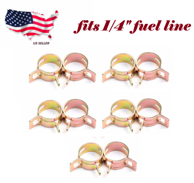 10 Pieces Spring Clip 1 4 Fuel Hose Clamp Fits 1 4 Inch Fuel Line Hose Id 12mm For Sale Online