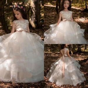 d839edc5e0a3b Details about Vintage Flower Girl Princess Wedding Dresses Blush Pink  Bridal Gown Custom Made
