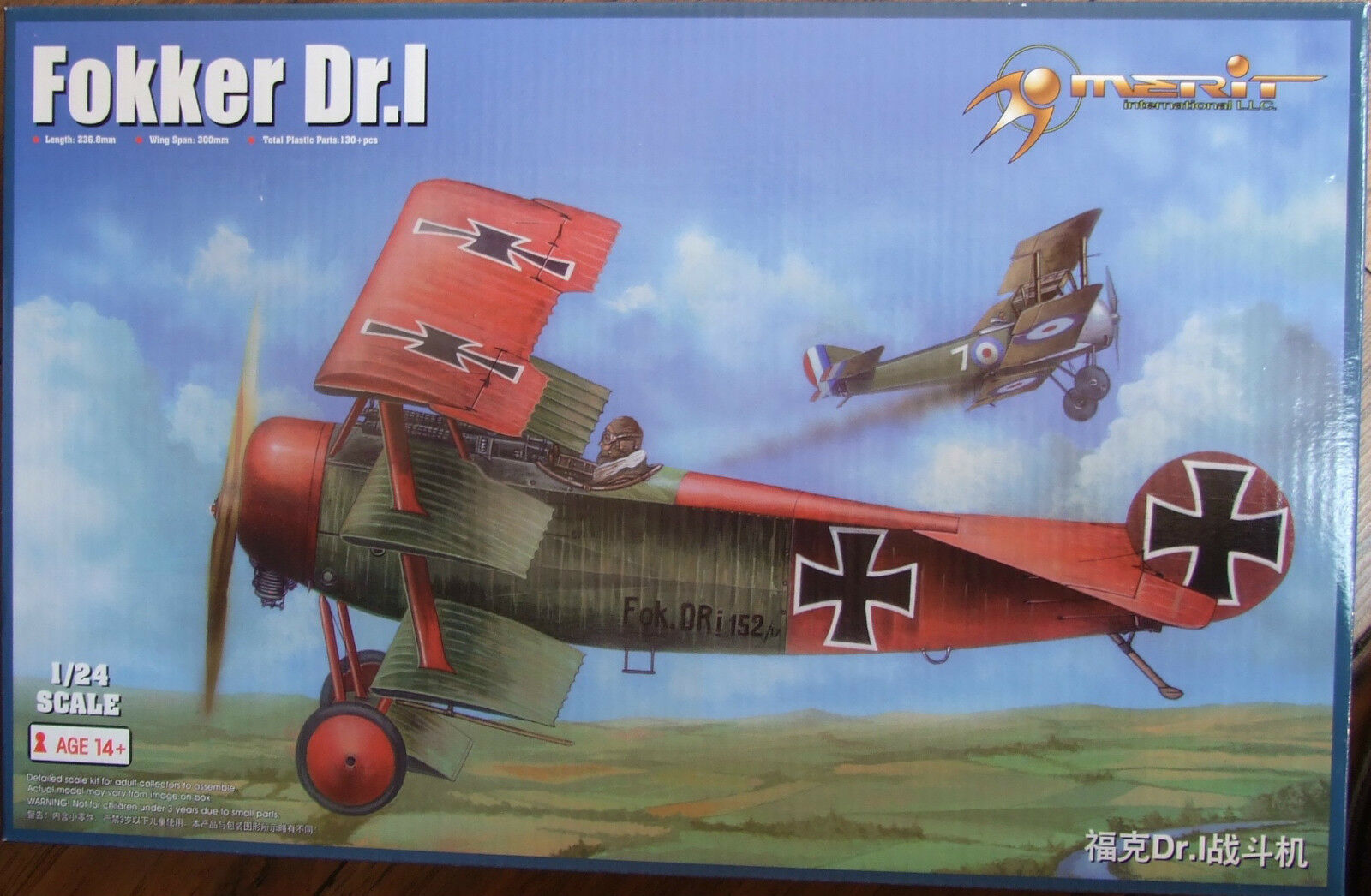 MERIT 1 24 FOKKER Dr.1 Triplane WWI plastic model fighter aircraft kit NEW