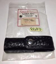 New Listingstallion Leather Gear Basketweave Pouch Holder Case Black Fbk 2 Buck Knife 110
