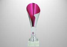 Pokal H. 20cm Design Award silber-pink inkl.Emblem Schild, Frauen Damen Mädchen