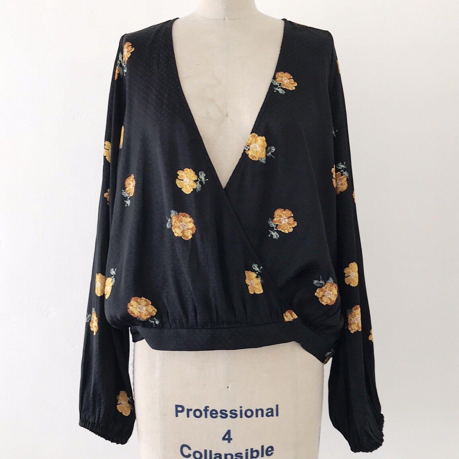 Madewell schwarz Floral V Neck Long Bubble Sleeve Wrap Top Blouse - L