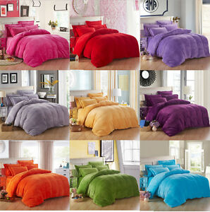 Soft-Flannel-Plush-Solid-Bedding-Duvet-Quilt-Cover-Pillowcases-Set-All-Sizes