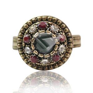 1PC-Vintage-Alloy-Antique-Copper-Gemstone-Crystal-Rhinestone-Jewelry-Rings-17mm
