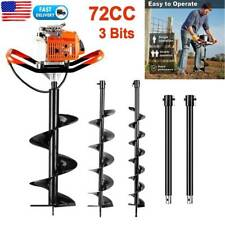 72cc Earth Auger Power Head Gas Powered Post Hole Digger Machine With3 Drill Bits