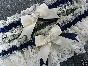 WEDDING-GARTER-SET-BRIDAL-FRENCH-SATIN-LACE-ivory-and-navy-blue-heart-diamante