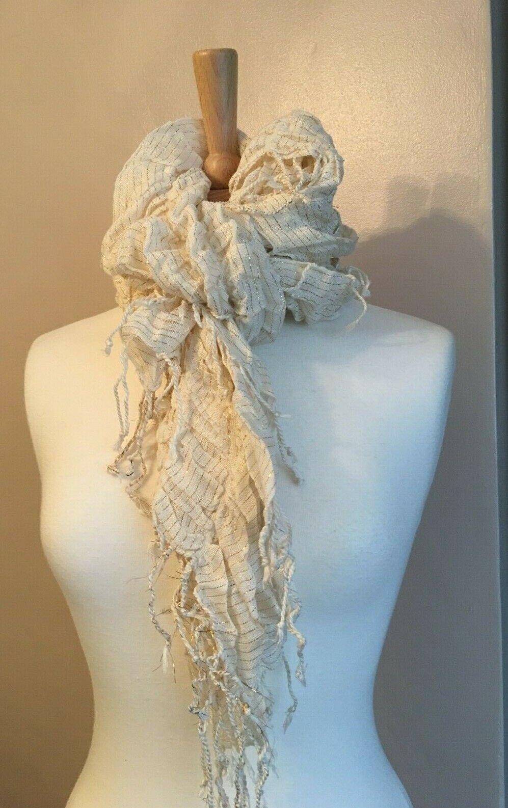 Girls/Women's Long Cream Gold Ruffle scarf