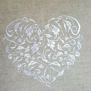 Pretty SHABBY CHIC FOLK ART HEARTS TOILE cotton designer lace panel prim cream