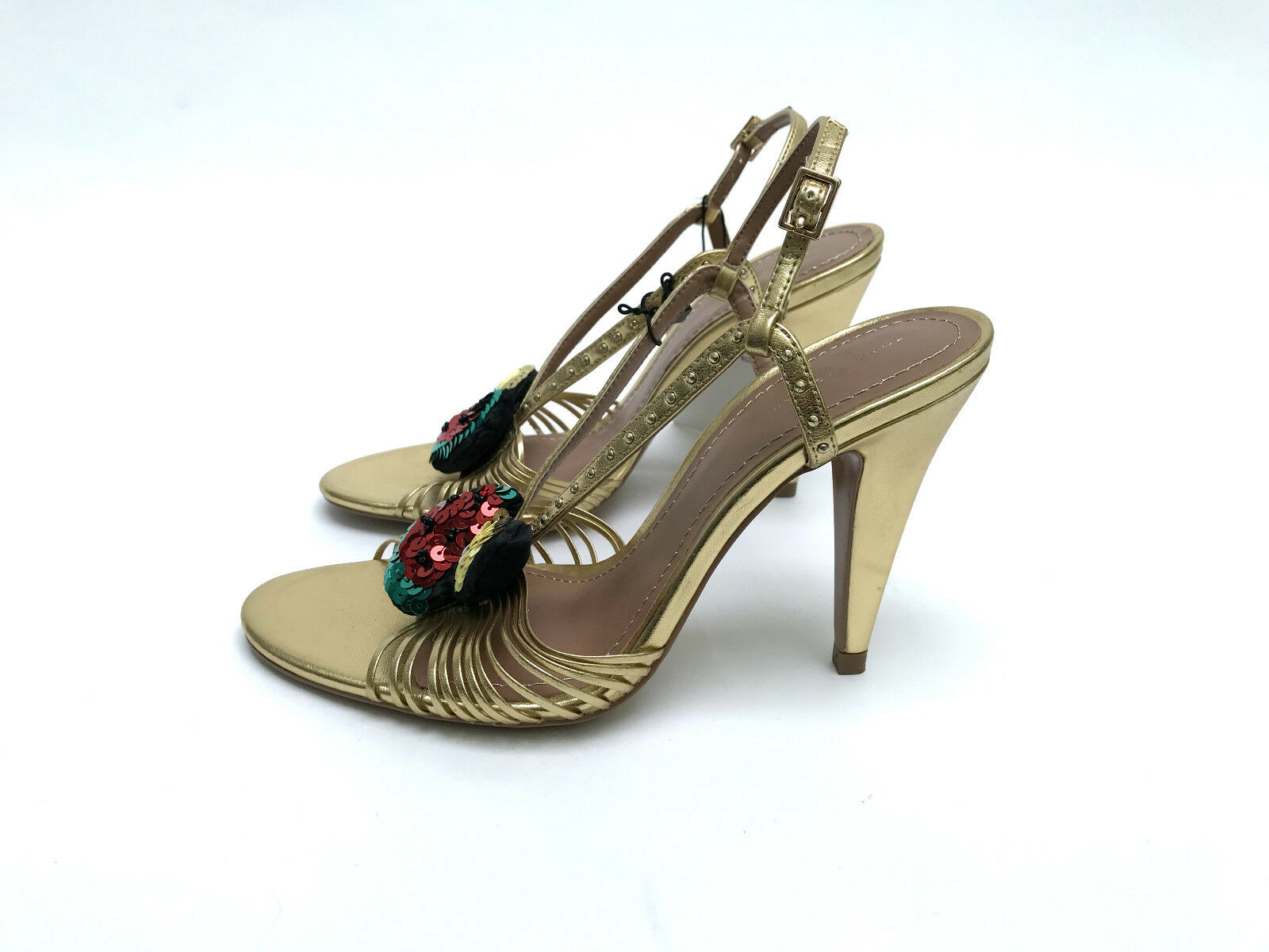 ZARA GOLD HIGH HEEL SANDALS WITH EUR37 FRUIT DETAIL SIZE UK4 EUR37 WITH US6.5 7913d4