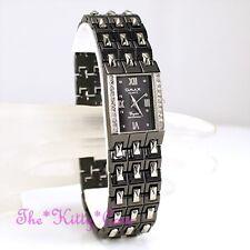OMAX Ladies Hematite Black & Silver Seiko Movt Watch w Swarovski Crystals JHS154