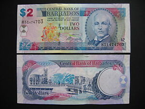 p66b Unc Contemplative Barbados 2 Dollars 2007 2009