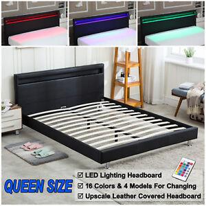 Details about Queen Size Bed Frame Bedroom Platform w/ LED Light Headboard  Modern Frame Black