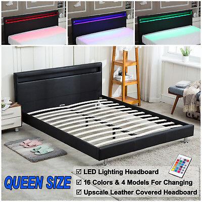 Queen Size Bed Frame Bedroom Platform W Led Light Headboard