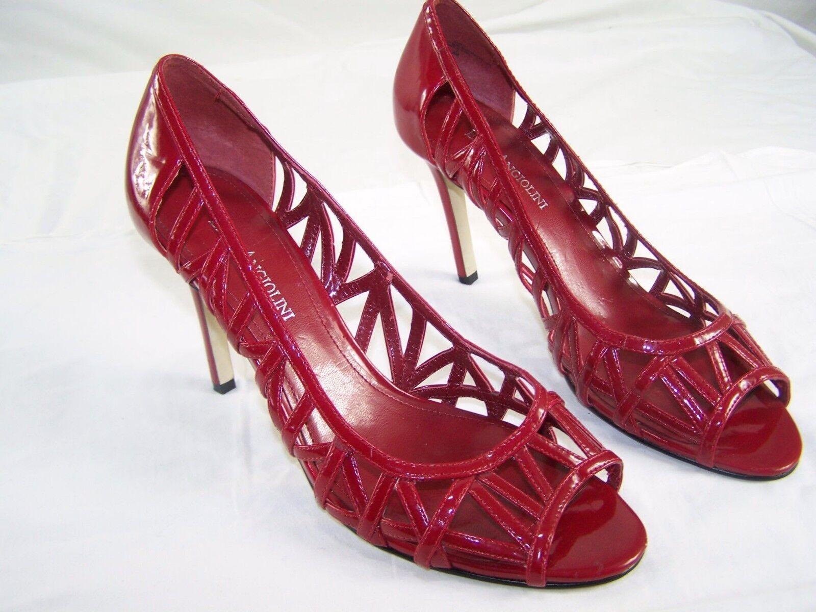Enzo aniolinig Rouge Oeillet Wet Look Bout Ouvert Talons Hauts Chaussures Femme Taille 8 M 8 m