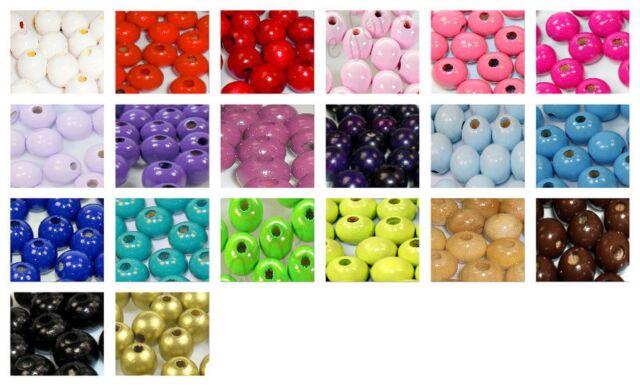 100 Holzperlen,10 mm, speichelfest für Schnullerketten ♥20 verschiedenen Farben♥