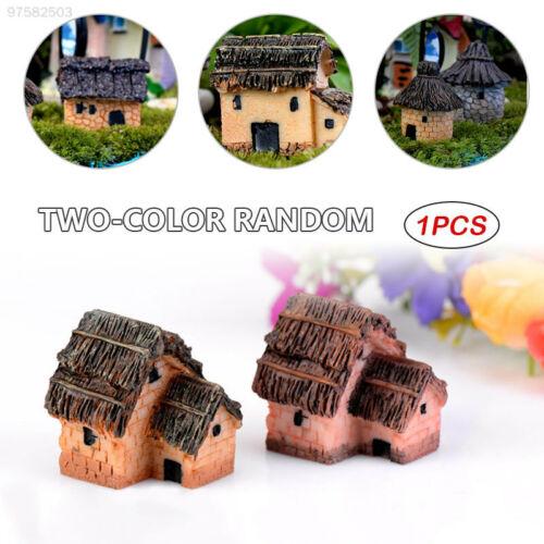 8D46 Thatched Cottage Miniature Statues Figurine Fairy Garden Yard Decor