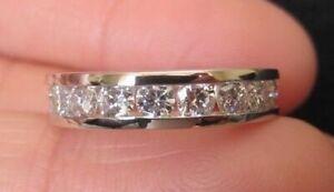 14k-White-Gold-Finish-1-00-Ct-Round-Cut-Diamond-Anniversary-Wedding-Band-Ring