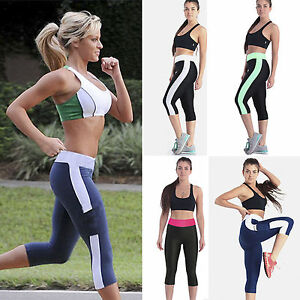 80088ca1ad02 Image is loading Women-Cropped-Yoga-Fitness-Leggings-Running-Gym-Stretch-