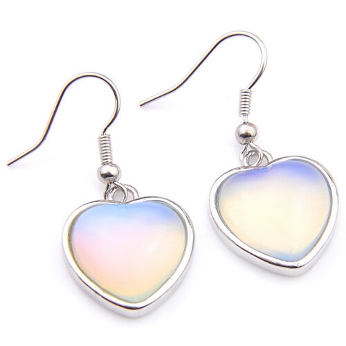 Extraordinaire jelwery Cadeau Coeur Style Rainbow Fire Moonstone silver Hook Boucles d/'oreilles