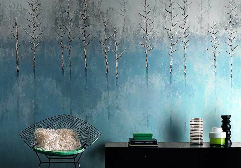 Huge 3D Blau Trees Forest Paper Wall Print Decal Wall Deco Indoor wall Murals