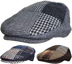 Patchwork pour Homme Casquette Tweed Pays hat atteint un pic Racing bouchons en bleu gris marron