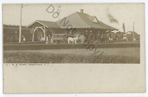 RPPC-LIRR-Long-Island-Railroad-Depot-Station-FARMINGDALE-NY-Real-Photo-Postcard