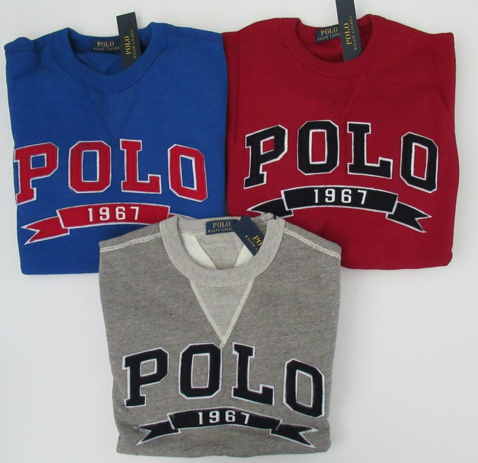 NWT Ralph Lauren LS POLO Logo Cotton Blend Fleece Sweatshirt M L XL 2XL NEW