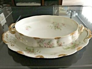 1890-Theodore-Haviland-Limoges-France-Fine-Antique-Serving-Plate-and-Veggie-Bowl