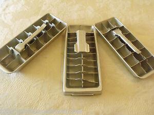 aluminum ice cube trays ge minicube quikcube unmarked lever metal set 3 vintage ebay. Black Bedroom Furniture Sets. Home Design Ideas