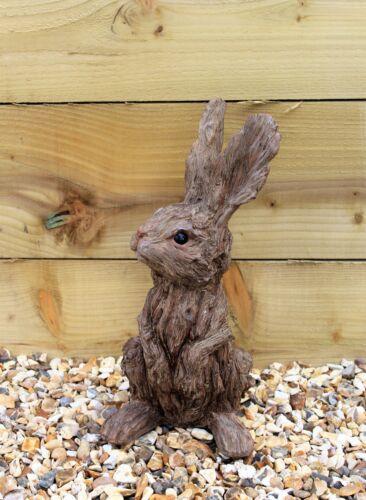 Decorazione Giardino Baby Coniglio Lepre SCULTURA INTERNI ESTERNI ARREDAMENTO effetto legno