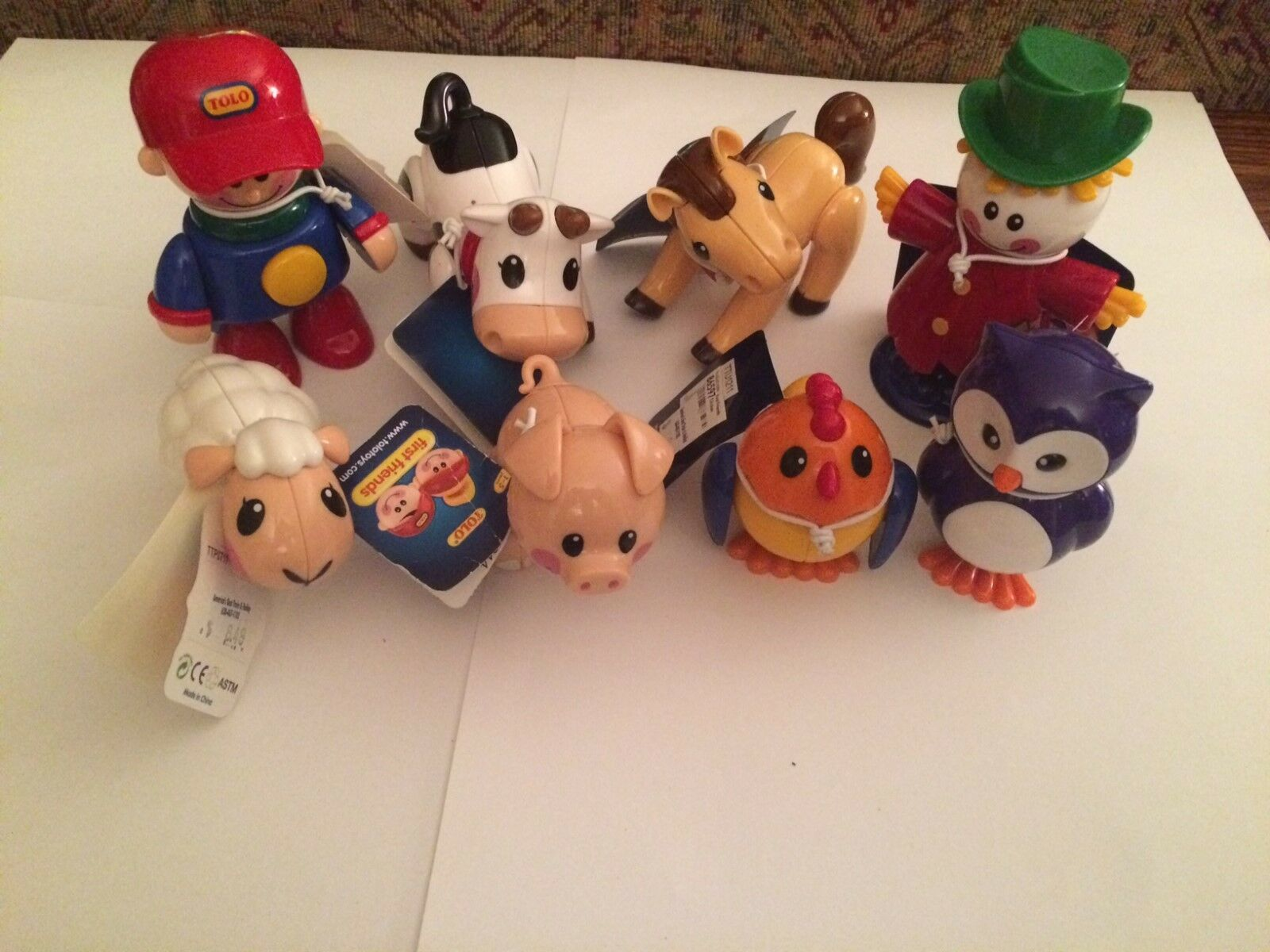 Tolo Toys Farm Animals Figure Assortment Lot New with Tags 8 Pieces