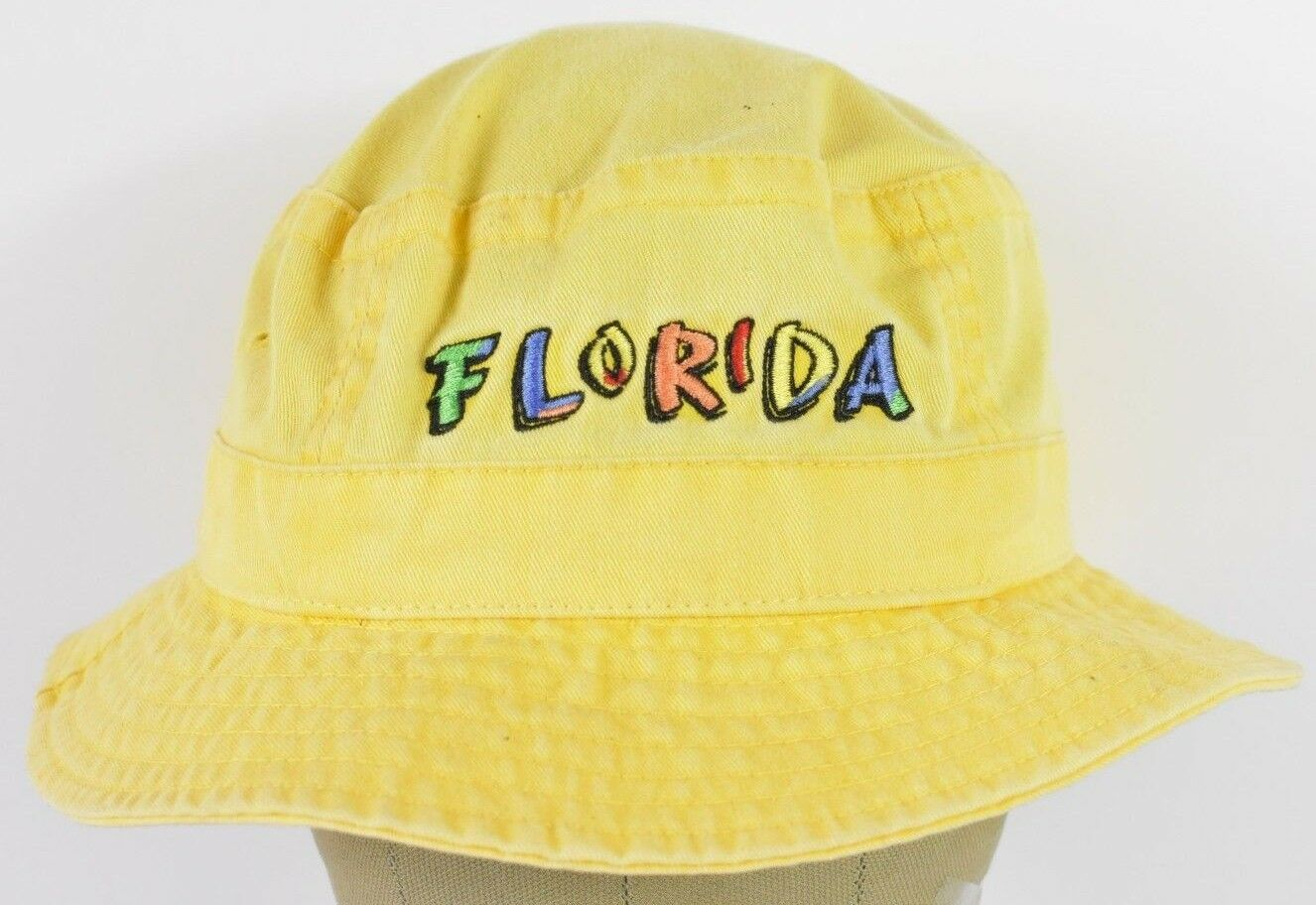Yellow Jhats Florida Florida Florida US State Souvenir Beach Style Bucket Boonie Hat Cap Fitted 009627