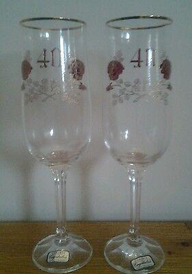 40th Cristallo Bicchieri Compleanno O Anniversario-mostra Il Titolo Originale