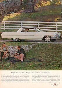 1964 Cadillac PRINT AD White 2 door Gentlemen countryside ...