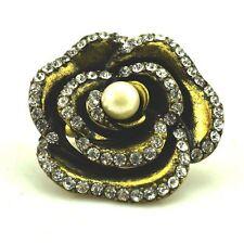 Art Deco vintage retro cut out bronze rose flower ring