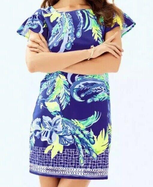 NWT - Lilly Pulitzer Marah Dress Nest to Nothing Engineerot Twilight Blau Größe S