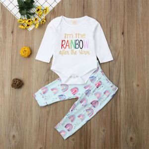 Cute Newborn Baby Girls Tops Romper Floral Pants Outfits Set Clothes
