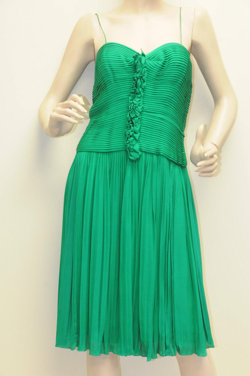 Neu Oscar De La Renta Geo Plissiert Spaghetti Träger Kleid green Kleid 6