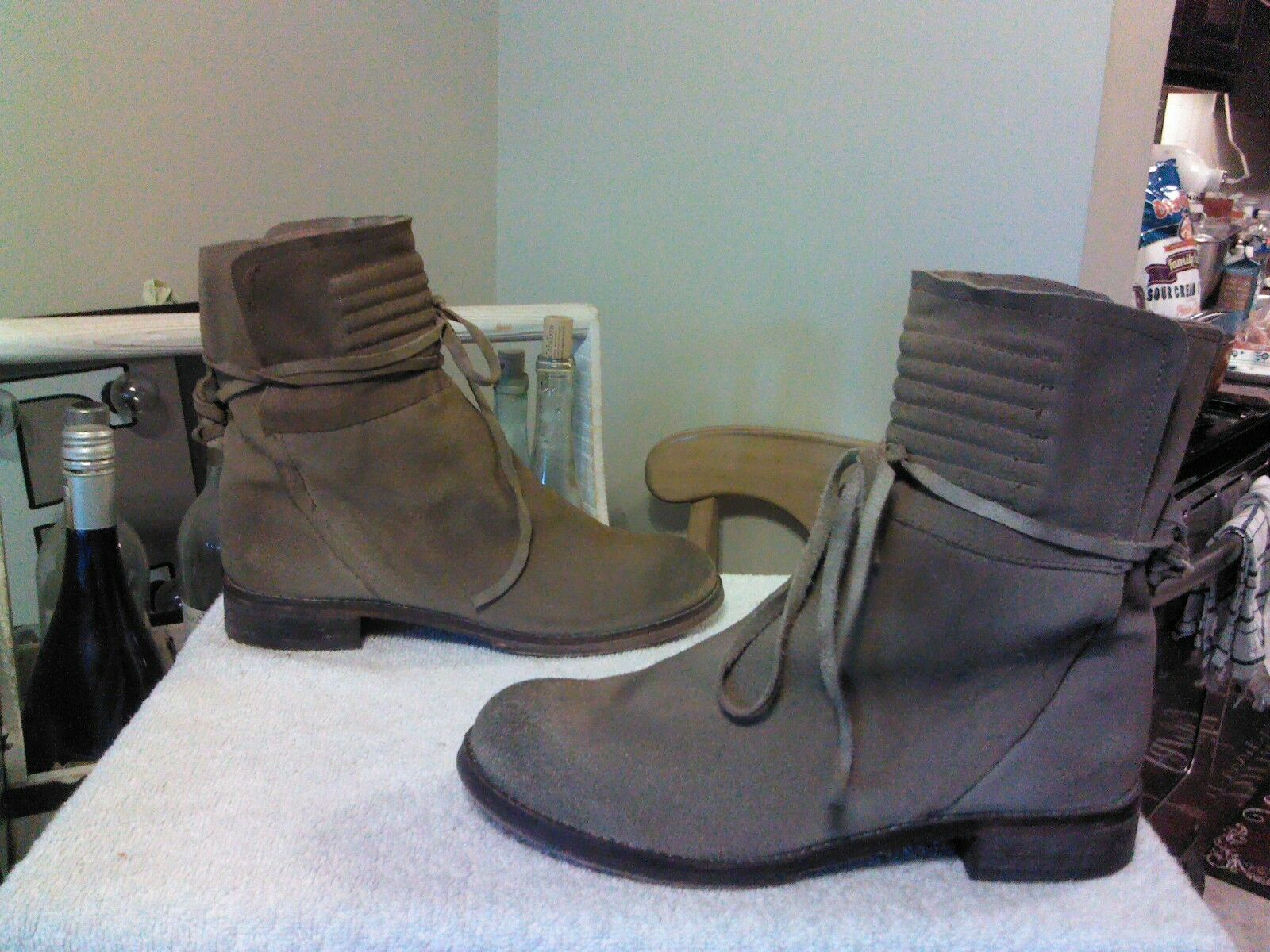 Free People Cambridge Womens Boots EU 37 US US US 7 Distressed Tan Suede Booties 2208 499563