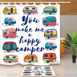 Summer-Happy-Camper-Bathroom-Shower-Curtain-Waterproof-Fabric-71x71-Inch-amp-Hooks