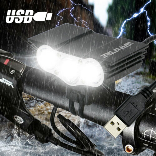 Rechargeable LED Bicycle Headlight MTB Road Bike Cycling Front Rear Light Bright