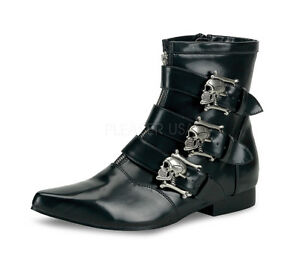 95f4116c25b Mens Gothic Punk Rock Skull Buckled Vampire Pointy Toe Ankle Boots ...