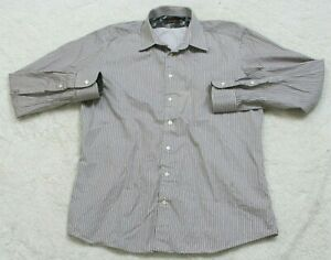 Sand Striped Dress Shirt Long Sleeve Button Up Large 43 Mens White Gray & Purple
