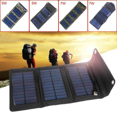 Solar Panel External Battery Charger Power Bank Folding For Cell Phone Tablets