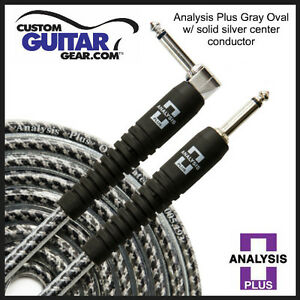 Analysis-Plus-30ft-GRAY-Oval-Guitar-Bass-Cable-with-Straight-ANGLE-Plugs