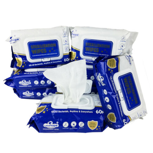 8 Pack Sterilization Wipes Skin Friendly Alcohol Free 60 Pcs 480 wipes