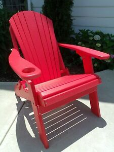 Awesome Details About Folding Adirondack Chair W Cup Holder Poly Lumber Wood Recycled Plastc Red Squirreltailoven Fun Painted Chair Ideas Images Squirreltailovenorg