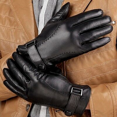 Luxury Men 100% Quality Genuine Lambskin Leather Gloves Cashmere Lined