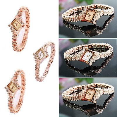 Fashion Women's Crystal Bracelet Stainless Steel Dress Analog Quartz Wrist Watch