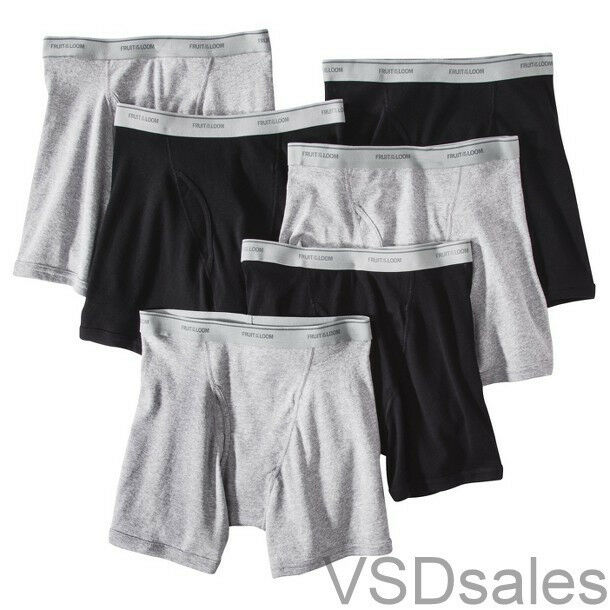 24 Black Gray Large L 36-38 Inch Boxer Briefs Fruit Of The Loom G 91-97 CM